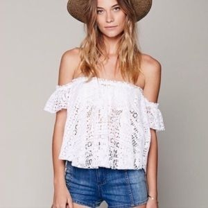 BLUE Free People Beach Free to Be OffShoulder Crop